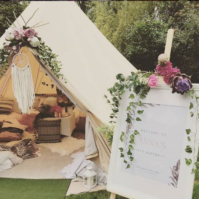 into the woods glamping Party Tent